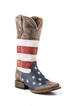 Western Boot Sales - Online Western Store - Roper® Ladies Square Toe Distressed Texas Star Flag Boots, Western Cowgirl Boots, 09-021-7001-01...