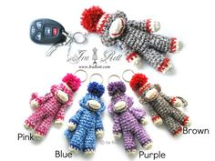 """Handmade Crochet Classic Twist Sock Monkey Key Chain    This super adorable Classic Sock Monkey Key Chain is hand crocheted out of soft acrylic yarn and has the most authentic sock monkey look...    COLOR: Pink, Blue, Purple or Brown (please choose)    SIZE: 5 ¾"""" (14½ cm) long (not including pompom)    PLEASE NOTE:    It is not a toy, not intended for small kids or babies    This listing is for 1 Key chain, please specify color when ordering    $ 25.00 CAD"""