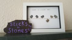 Framed pebble art picture birds 'There is always one' funny quote