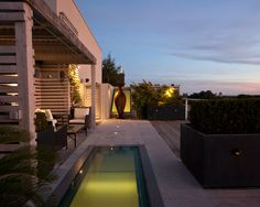 Amazing Loft Design Ideas with Outdoor Living Space: Fascinating Modern Patio With Pool Annex Loft Exterior