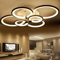 rings white finished chandeliers LED circle modern chandelier lights for living room acrylic Lampara de techo indoor Lighting Item Type: ChandeliersStyle: ModernFinish: IronVoltage: Direction: DownCertification: CE,RoHSBody Material Led Pendant Lights, Led Ceiling Lights, Room Lights, Ceiling Lamp, Ceiling Ideas, False Ceiling Living Room, Living Room Lighting, Bedroom Ceiling, Modern Chandelier