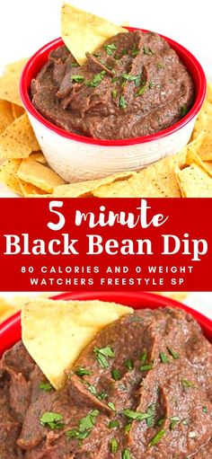 This awesome and easy black bean dip takes only 5 minutes to throw together. Bring it to your next get-together or keep it on hand for afternoon snacking. 80 calories and 0 Weight Watchers SP Healthy Beans, Healthy Dips, Healthy Food, Vegan Appetizers, Appetizer Recipes, Snack Recipes, Diet Recipes, Vegetarian Recipes, Healthy Recipes