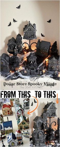 DIY Spooky Dollar Store Halloween Village.