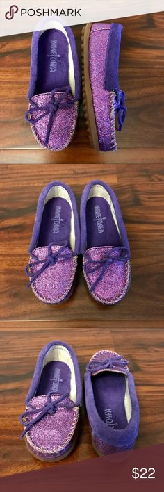 Toddler Glitter Minnetonka Moccasins Glitter Minnetonka Moccasins, size Toddler 12. Purple glitter with purple suede accents and rubber non-slip soles. So cute and comfy!! In brand-new condition, only worn once. Bundle with the pink pair I'm selling and get a 20% discount!! Minnetonka Shoes Moccasins