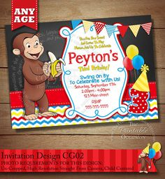 Curious George Invitation Curious George by ThePrintableOccasion, $15.00