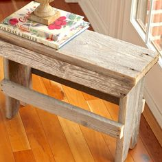 Rustic Vintage, Antique, Wood Farmhouse Bench or Occasional Table- 25 x 8 x 17T