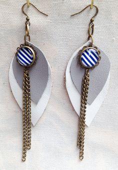 Bijoux cuir boucles d'oreille cuir recyclé forme par BoutiqueAnnik, $15.00