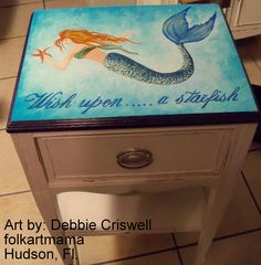 Mermaid hand painted by artist Debbie Criswell on antique table. Hand Painted Chairs, Painted Stools, Hand Painted Furniture, Deco Furniture, Paint Furniture, Upcycled Furniture, Hand Painted Signs, Furniture Ideas, Mermaid Sign