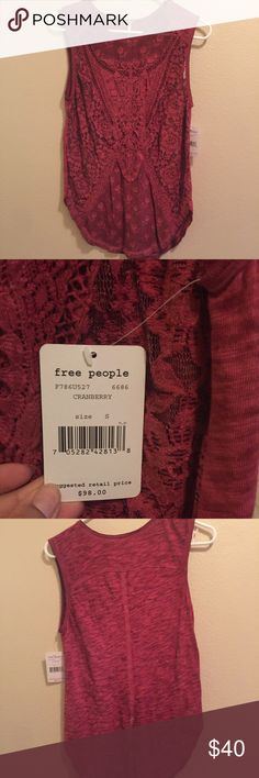 Free People sheer lace sleeveless top Size US small. NWT. Magenta. Free People Tops Muscle Tees