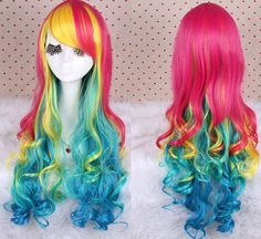 Long curly rainbow wig . Lolita hair. Synthetic multi-color wig -high quality wig - made to order
