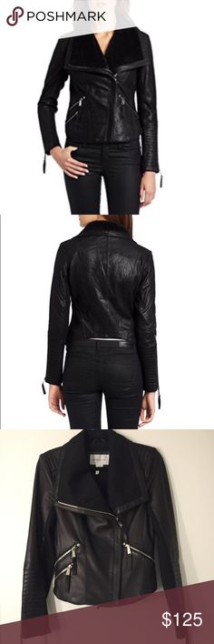 BCBGeneration Genuine Leather Jacket, XS Gorgeous jacket made of super soft, smooth black leather with exaggerated collar, can also be worn funnel neck style, silver zippers, moto style. Collar and bottom half of sleeves are cotton. In perfect condition, worn only couple of times. BCBGeneration Jackets & Coats