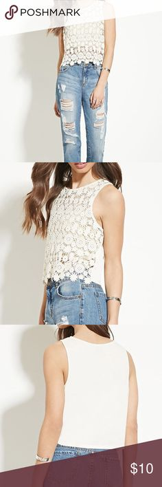 Forever 21 Crochet Front Top So cute and on trend! Front portion of the top is not lined, therefore you can wear a short cami or a bralette! True to size. No trades please. 0001221700mc Forever 21 Tops