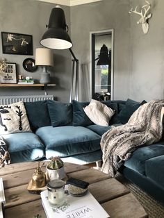 Living life in the slow lane with our new loaf sofa. - kerry lockwood - in detail Blue Velvet Sofa Living Room, Corner Sofa Living Room, Velvet Corner Sofa, Corner Couch, Living Room Sectional, Living Room Decor, Velvet Couch, Loaf Sofa, Deep Sofa