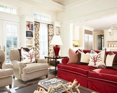 living room with red couch | Best and modern red sofa Design for living room