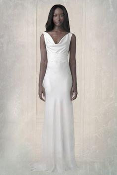 Charlie Brear | Ready To Wear Designer | Bridal Designer | Vintage Wedding Dresses | London  1940.1 SANDWASHED SILK  Fabric: Sandwashed silk / Colour: Ivory / Description: Bias Cut dress with front and back cowel neck/  Pictured With: SASH.2 Tatham Lace  (2014-adv.)