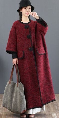 Casual Thicken Long Woolen Coat For Women 5831 – Linen Dresses For Women Modest Fashion, Fashion Outfits, Womens Fashion, Cheap Fashion, Coats For Women, Clothes For Women, Mode Hijab, Lookbook, Linen Dresses