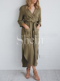 81d2f39341dc6 Army Green Long Sleeve Rockabilly Peasant Waistband Sophisticated Pockets  Split Maxi Dress 17.99 Green Long Sleeve