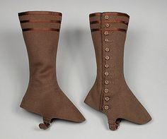 Hanan & Son (United States, New York, Brooklyn) Pair of Woman's Gaiters, 1890-1910. Costume/clothing accessory/legwear, Wool, silk satin ribbon, Length: 11 in. (27.94 cm) each  Mrs. Alice F. Schott Bequest (M.67.8.158a-b)