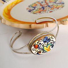 Broken China Jewelry Deruta Italian Pottery Sterling Silver Bracelet