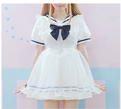 0fc3db35a Sailor High Waist School Unifrom Maid Dress With Bow free shipping from  lovestory89