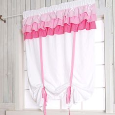 Pink Ruffle Ribbon Tie Up Curtain , White
