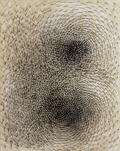 Günther Uecker – Doppelspirale (Double Spiral) nails and white paint on canvas on wood (2012)