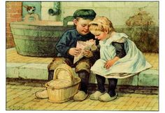 Ot en Sien, by dutch illustrator Cornelis Jetses Vintage Pictures, Vintage Images, Vintage Postcards, Vintage Cards, Round Robin, Dutch Netherlands, Amsterdam Holland, Dutch Artists, Vintage Children