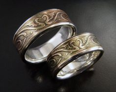 Dragon Heart Wedding Ring Set - Silver & Bronze - Etched Wedding Rings with Celtic Style Dragon Design - Unique Wedding Ring Set