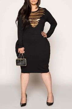 Looking for womens plus size wedding dresses? the perfect plus size dresses at CurveGirl for any occasion, including wedding, party and maxi dresses in all colors. Plus Size Black Dresses, Plus Size Outfits, Gold Dress, Peplum Dress, Plus Size Clothing Sale, Plus Size Fashion, Curvy, Sequins, Fabric