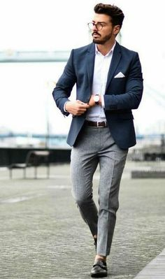 Casual Blue Blazer Outfit Men, Blazer Outfits Men, Mens Fashion Blazer, Mens Fashion Blog, Fashion Mode, Suit Fashion, Work Outfits, Formal Outfits, Casual Blazer