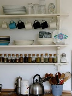 open shelves and no cupboards - my kinda kitchen