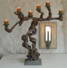Kerzenleuchter-aus-Weinreben-Holz