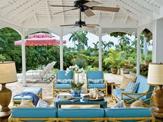 Poolside space in Round Hill, Jamaica designed by Meg Braff