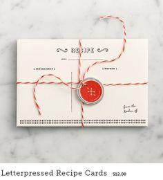 Letterpressed Recipe Cards // shop.loveandlemons.com