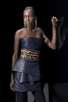 Look from Balmain Pre-Fall 2014.  I'm pinning her for that gorgeous belt.