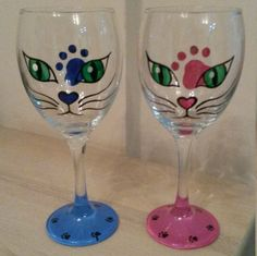 Cat wine glass by LinDreamGlass on Etsy