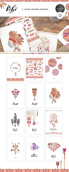Graphic Ethnic Style Fashion Boho Fonts Branding Designs Typography Tatoo
