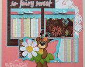 Premade Scrapbook Page Layout Paper Piecing 12x12 Baby Girl Fairy Tear Bear Handmade Elite4U
