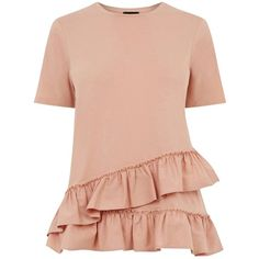 Warehouse Cotton Poplin Ruffle T-Shirt , Light Pink (€14) ❤ liked on Polyvore featuring tops, t-shirts, light pink, frill sleeve top, red top, red tee, round neck t shirts and flounce tops