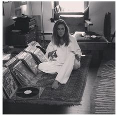 Erin @ home w/ her records.