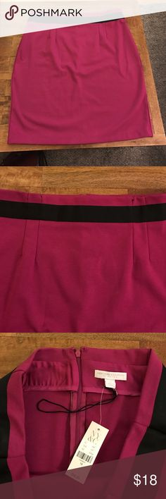 Pink Skirt, black ribbon detail, never worn Cute magenta skirt, never worn, flattering pleats and black ribbon trim. Back zipper and clasp closure. 67% polyester 28% rayon 5% spandex new york company Skirts Pencil
