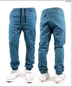 Elastic Waist Stretch Tappered Jogger pants for Men, Jade color twill material #KaydenK #CasualPants