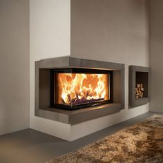 contemporary wood burning corner fireplace - Google Search