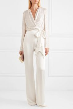 Jenny Packham Penelope satin-trimmed sequined silk-chiffon wrap top white sequin wrap top and white pants wedding look bridal shower engagement party rehearsal dinner elopement The Dress, Silk Dress, White Silk Blouse, Low Cut Bra, Look Fashion, Fashion Outfits, Outfits Mujer, Looks Plus Size, Ivory Silk