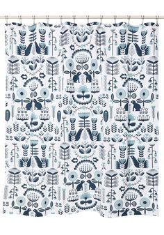 Delft-Centered Shower Curtain. Give your home decor a 'Delft-tistical' twist with this white cotton shower curtain! #multi #modcloth