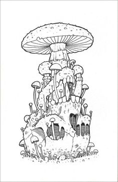 Amazing Pen and Ink Cross Hatching Masters Edition Ideas. Incredible Pen and Ink Cross Hatching Masters Edition Ideas. Mushroom Drawing, Mushroom Art, Mushroom Tattoos, Illustration Art, Illustrations, Bulletins, Mystique, Art Drawings Sketches, Psychedelic Art