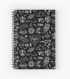 Conspiracy pattern Notebook Japanese School Supplies, Cool School Supplies, Diy Notebook Cover, Journal Notebook, School Suplies, Stationary School, Bullet Journal Mood, Cool Notebooks, Cute Planner