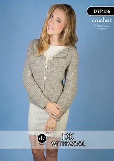 Crochet Womens Jacket in DY Choice in DK with Wool (DYP156) Digital Version   Jacket Knitting Patterns   Knitting Patterns   Deramores