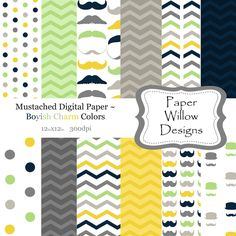 Boyish Charm Mustache-(12)-12x12 Digital Papers-300dpi-Instant Download-Mustache-Chevron-Polka Dot-Green-Yellow-Grey-Blue-Tan by PaperWillowDesigns on Etsy