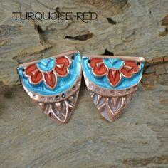 Handmade Colorful White Copper Harlequin component Pair (1 pair) Kristi Bowman design, kristibowmandesign